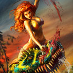 Red Sonja TRex Sam Kennedy DAZ 3D Digital Art Illustration